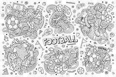 De vectorreeks van het krabbelsbeeldverhaal voetbalcombinaties voorwerpen Royalty-vrije Stock Afbeeldingen