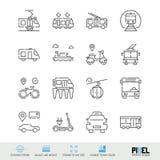 De vectorreeks van het lijnpictogram Het openbare Vervoer bracht Lineaire Pictogrammen met elkaar in verband De Symbolen van stad vector illustratie