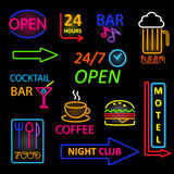 De vectorreeks van het neonpictogram Royalty-vrije Stock Afbeeldingen