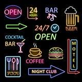 De vectorreeks van het neonpictogram Stock Foto