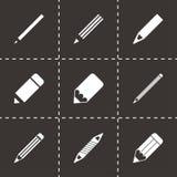 De vectorreeks van het potloodpictogram Royalty-vrije Stock Afbeelding