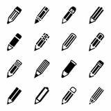 De vectorreeks van het potloodpictogram Royalty-vrije Stock Foto's