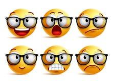 De vectorreeks van het Smileygezicht van gele nerd emoticons met oogglazen stock illustratie