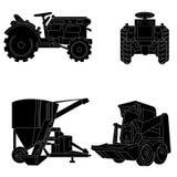 De vectorreeks van het tractorsilhouet Stock Fotografie
