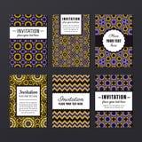 De vectorreeks van het uitnodigingsontwerp Geometrisch abstract ontwerp Stock Foto