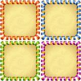 De vectorreeks van het vakantie vierkante kader Rode, blauwe, groene en purpere wimpel vector illustratie
