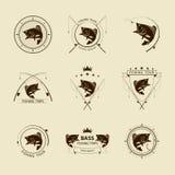 De vectorreeks van het visserijsymbool Royalty-vrije Stock Foto's