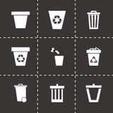 De vectorreeks van het vuilnisbakpictogram Stock Foto
