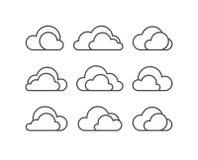 De vectorreeks van het wolkenpictogram royalty-vrije illustratie