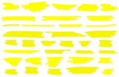 De vectorreeks van de highlighterborstel Gele getrokken hand stock illustratie