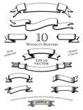 De Vectorreeks van houtdrukbanners Stock Foto's