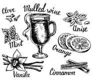 De vectorreeks van de inkthand getrokken stijl overwogen wijn stock illustratie