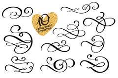 De vectorreeks van kalligrafisch ontwerp bloeit elementen royalty-vrije illustratie