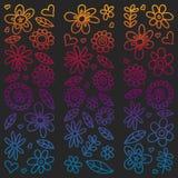 De vectorreeks van kindtekening bloeit pictogrammen in krabbelstijl Geschilderd, kleurrijk, gradiëntbeelden op een stuk van docum stock illustratie