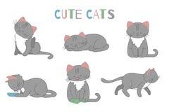 De vectorreeks van de leuke kat van de beeldverhaalstijl in verschillend stelt stock illustratie