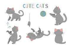 De vectorreeks van de leuke kat van de beeldverhaalstijl in verschillend stelt royalty-vrije illustratie