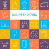 De vectorreeks van Lijnart modern online shopping icons royalty-vrije illustratie