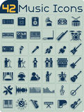 42 de Vectorreeks van muziekpictogrammen Stock Foto's