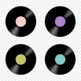 De vectorreeks van retro muziekvinyl registreert vlakke die pictogrammen op een transparante achtergrond worden geïsoleerd Elemen vector illustratie