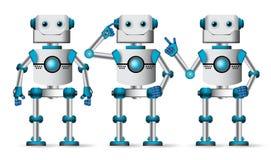 De vectorreeks van robotkarakters Robotachtige mascotte in witte status stock illustratie