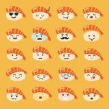De vectorreeks van sashimiemoji Emojisushi met gezichtenpictogrammen stock illustratie