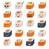 De vectorreeks van sashimiemoji Emojisushi met gezichtenpictogrammen royalty-vrije illustratie