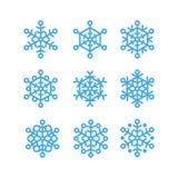 De vectorreeks van sneeuwvlokken Stock Afbeelding