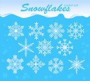 De vectorreeks van sneeuwvlokken Stock Afbeeldingen