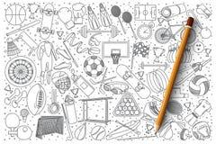 De vectorreeks van de sportkrabbel stock illustratie
