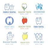 De vectorreeks van tand en de stomatologieemblemen Royalty-vrije Stock Foto's