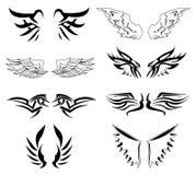 De vectorreeks van vleugels Stock Fotografie