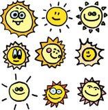 De vectorreeks van zonnen Stock Afbeeldingen