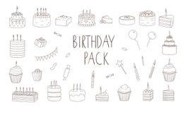De vectorreeks zwart-witte cakes met kaarsen, ballons, stelt voor stock illustratie