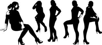 De vectorreeks zwarte silhouetten van meisjes in zitting stelt Royalty-vrije Stock Fotografie