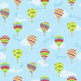 De vectorreis van hete luchtballons herhaalt patroon stock foto