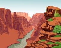 De vectorrivier van Colorado in het Nationale Park van Grand Canyon vector illustratie