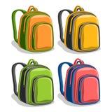 De vectorrugzakken van de reeks kleurrijke school Royalty-vrije Stock Afbeeldingen