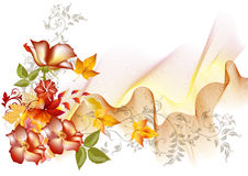 De vectorsamenstelling van de bloem met ruimte voor tekst Royalty-vrije Stock Foto's