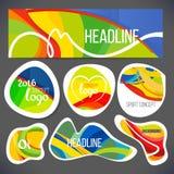 De vectorsamenstelling van een golf van banden met verschillende kleuren wordt ineengestrengeld met inbegrip van sportsymbolen stock illustratie