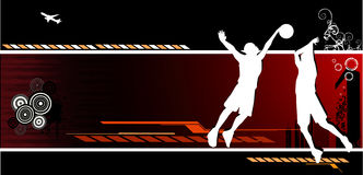 De vectorsamenstelling van het basketbal Stock Afbeelding