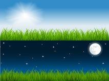 De vectorscène van de dag en van de nacht Stock Afbeelding