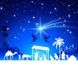De vectorscène van de Kerstmisgeboorte van christus met de groep van de koningenbewondering Stock Afbeeldingen
