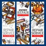 De vectorschetsbanners van de reparatiedienst werken hulpmiddelen Royalty-vrije Stock Foto's