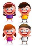 De vectorset van tekens van jonge geitjesstudenten met gelukkige gezichten die rugzakken dragen stock illustratie