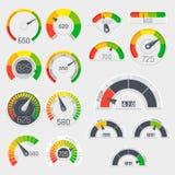 De vectorsnelheidsmeters van de bedrijfskredietscore De indicatoren van de klantentevredenheid met slechte en goede niveaus vector illustratie