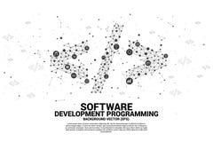 De vectorsoftware-ontwikkeling programmeringsmarkering met punt verbindt lijn en functioneel nutspictogram vector illustratie