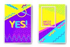 De vectorstijl van Memphis van affichemalplaatjes Stock Afbeeldingen