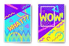 De vectorstijl van Memphis van affichemalplaatjes Stock Afbeelding