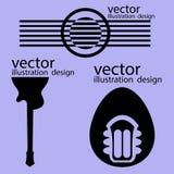 De vectorstijlen van de emblemengitaar op purple Stock Afbeelding