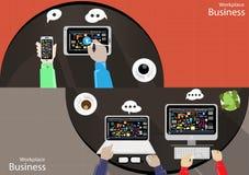 De vectortaak van de menings Moderne communicatietechnologieën van de Werkplaatszakenman hoogste, die het mobiele de tabletdocume stock illustratie